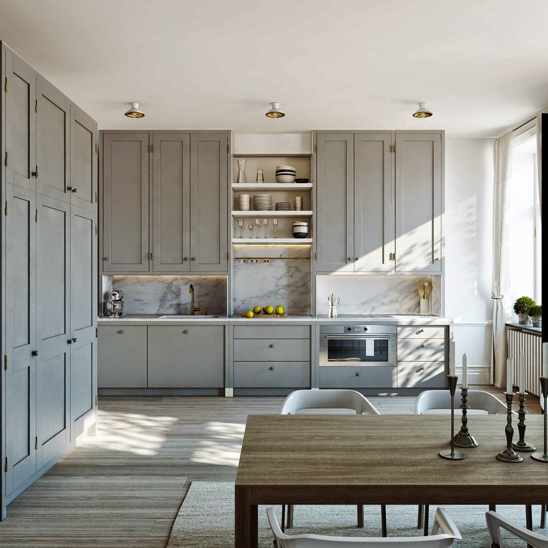 k che schwedischer stil k che vanille welche arbeitsplatte folie l form ohne ger te r ckwand. Black Bedroom Furniture Sets. Home Design Ideas